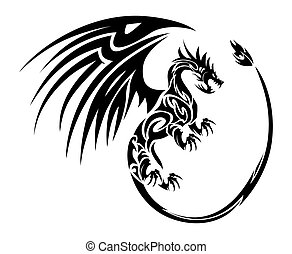 furious flying dragon - illustration of a furious flying...