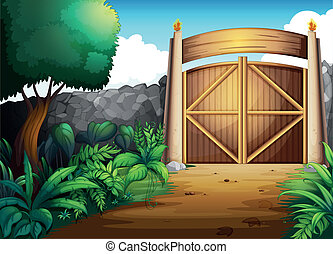 illustration of a gate in a beautiful nature