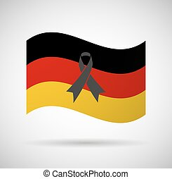 Germany flag with a black ribbon