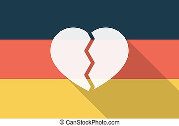 Germany  long shadow flag with a broken heart