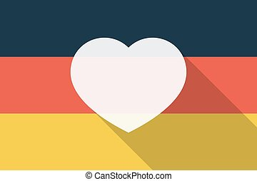 Germany  long shadow flag with a heart