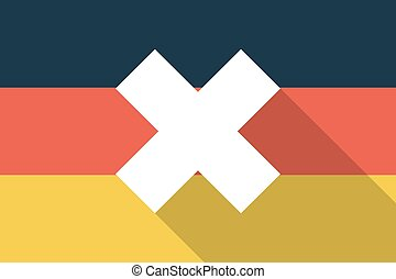 Germany long shadow flag with an x dsign