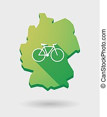 Germany map icon with a bicycle