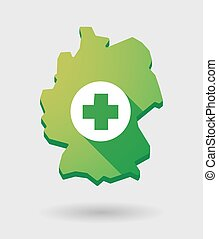 Germany map icon with a pharmacy sign