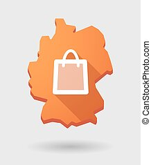 Germany map icon with a shopping bag
