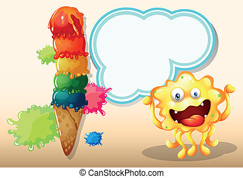 Illustration of a giant icecream beside the yellow monster with an empty callout
