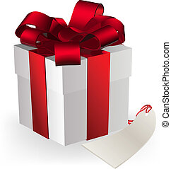 gift box - illustration of a gift box decorated with ribbon...