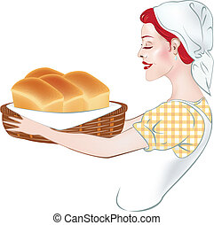 Illustration of a girl - a baker