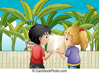 Illustration of a girl and a boy holding an empty book near the wooden fence with a monkey
