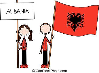 Illustration of a girl and boy holding Albanian flag and banner