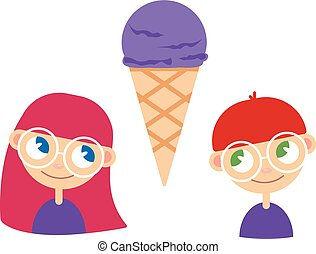 illustration of a girl and boy with ice cream
