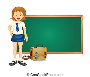 a girl and green board