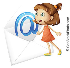 illustration of a girl and mail envelop on a white background