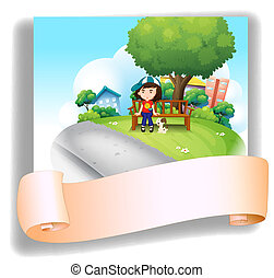 Illustration of a girl at the bench with her pet at the back of an empty template on a white background