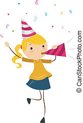 Party Horn - Illustration of a Girl Blowing a Party Horn