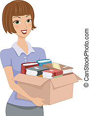 Illustration of a Girl Carrying a Donation Box Full of Books