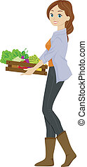 Organic Produce - Illustration of a Girl Carrying a Wooden...