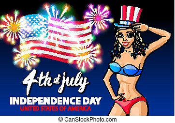illustration of a girl celebrating Independence Day Vector Poster. 4th of July Lettering. American flag Red on Blue Background with Stars burst. firework