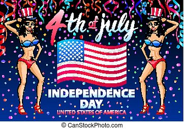 illustration of a girl celebrating Independence Day Vector Poster. 4th of July Lettering. American Red Flag on Blue Background. confetti.