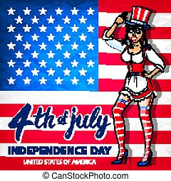 illustration of a girl celebrating Independence Day Vector Poster. 4th of July Lettering. American Red Flag on Blue Background with Stars