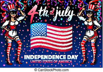 illustration of a girl celebrating Independence Day Vector Poster. 4th of July Lettering. American Red Flag on Blue Background with confetti