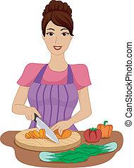 Girl Chopping Vegetables