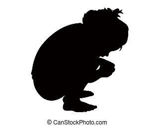 Illustration of a girl Crouching