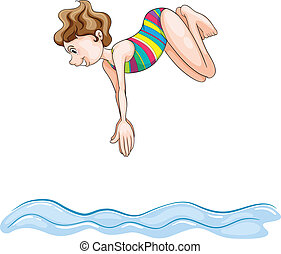 a girl diving into water - illustration of a girl diving...