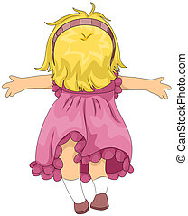 Illustration of a Girl Enjoying the Breeze