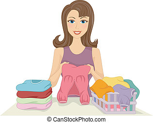 Girl Folding Clothes - Illustration of a Girl Folding...