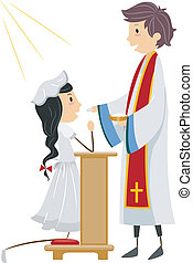 Communion - Illustration of a Girl Going Through Communion