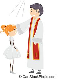 Illustration of a Girl Going Through Confirmation Rites