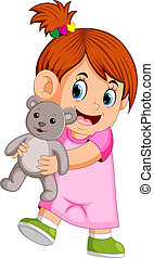 a girl happy playing with a gray teddy bear
