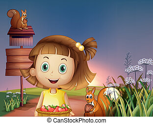 Illustration of a girl holding a basket of berries near the empty signage and the wooden mailbox