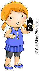 Illustration of a Girl Holding a Bottle Containing Poisonous Liquid