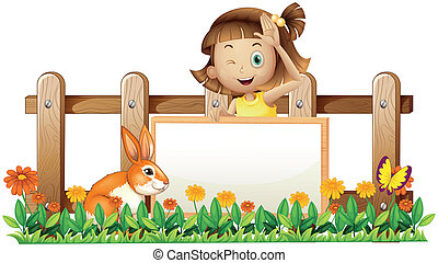 Illustration of a girl holding an empty framed banner with a rabbit near the wooden fence  on a white background