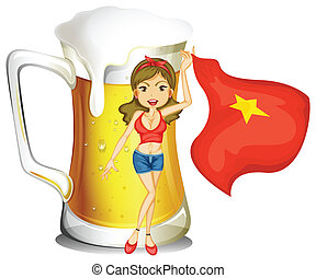 Illustration of a girl holding the flag of Vietnam in front of a big mug of beer on a white background