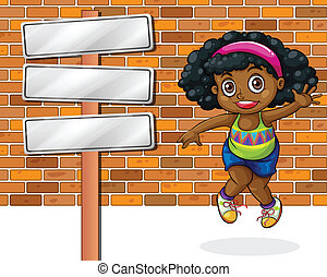 Illustration of a girl jumping in front of the stonewall beside the empty signboard