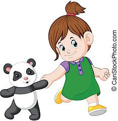 a girl likes to play with the panda dolls