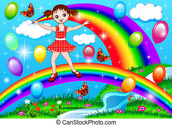 girl on a rainbow with balloons