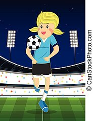 Illustration of a girl playing football at the field