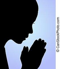 girl praying - Illustration of a girl praying or meditating