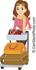 Illustration of a Girl pushing a Baggage Cart
