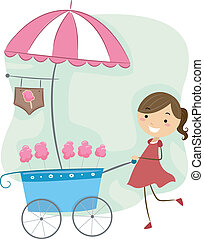 Cotton Candy Cart - Illustration of a Girl Pushing a Cotton...