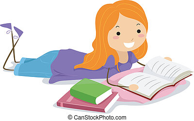 Girl Reading a Book - Illustration of a Girl Reading a Book