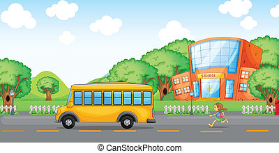 girl running behind school bus - illustration of a girl...