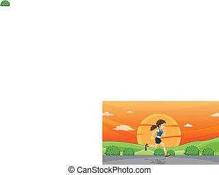 girl running on road