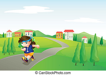 a girl running on road