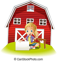 Illustration of a girl sitting in front of the barnhouse holding an empty signboard on a white background