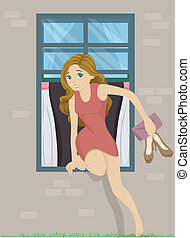 Girl Sneaking Out - Illustration of a Girl Sneaking Out from...